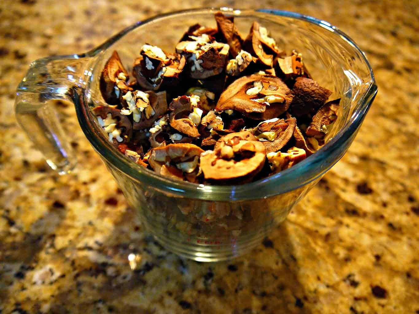 From recipe Hickory Nut Ambrosia: picture of cracked hickory nuts