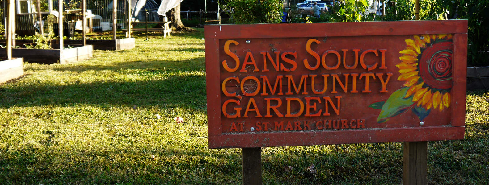 [feat img] Sans Souci Community Garden sign