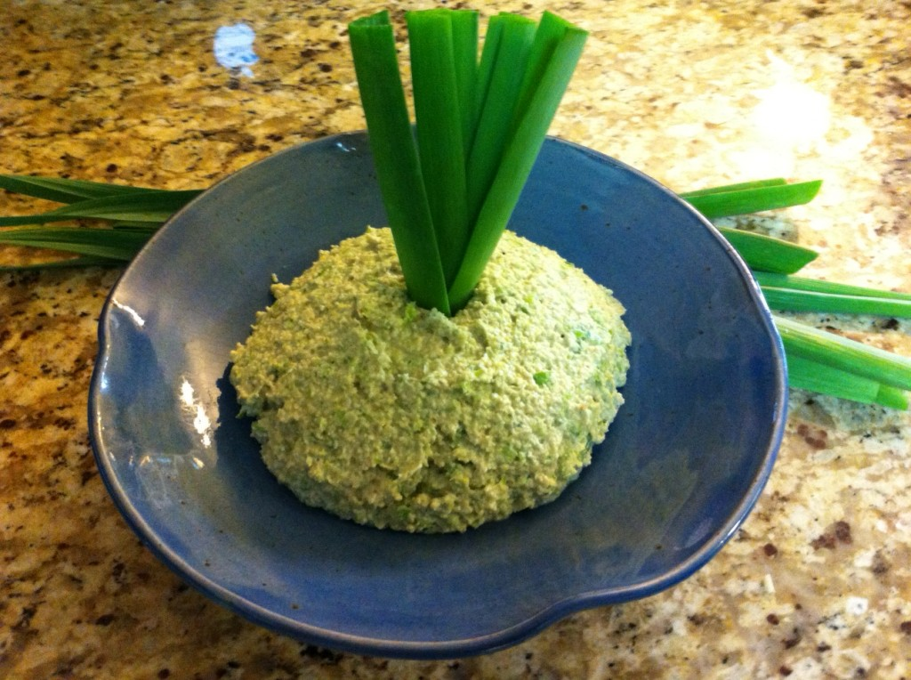 Fresh green garlic pesto made with heirloom hard-necked garlic grown on Tyrant Farms