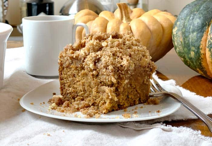 Recipe: fall harvest coffee cake with pumpkins, apples, and walnuts