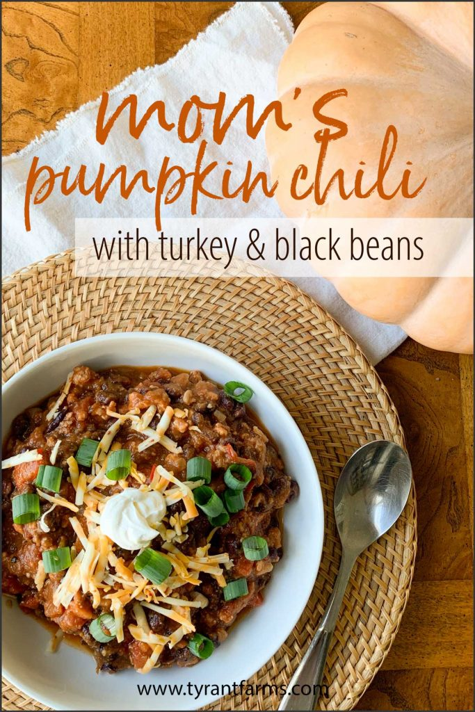 This pumpkin chili with turkey and black beans recipe is rich, savory, and perfect for dinner on a cool late summer or fall evening.  #pumpkinrecipes #fallrecipes #chilirecipes #tyrantfarms #ketorecipes #keto